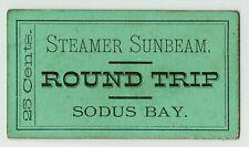 xRARE - Steamer Ship Sunbeam Ticket - Sodus Bay NY ca 1870s Boat Great Lakes