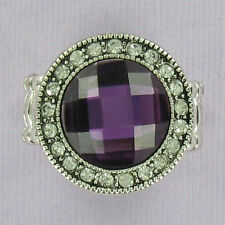 Round Purple Stretch Ring Fashion Bling Cocktail Rhinestone Silver One Size NEW