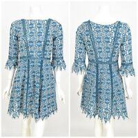 Womens Maje Rajo Embroidered Lace Dress Blue Ramie A-Line Size 1 / UK8 / S