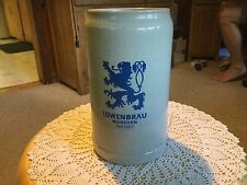"German Stoneware Stein, 7.5"" H x 3.75"" D, ""Lo 00004000 wenbrau Munchen"" Blue Decal."