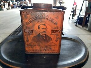 Rare Antique Try Moses' Celebrated Cough Drop - 5lb Tin Container with Lid