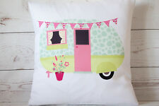 "Duckegg Caravan - 16"" cushion cover retro shabby vintage chic - UK handmade"