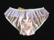 Pure Silk Panties XL Peach Knickers Embroidered Lace Womens Silk Briefs NEW