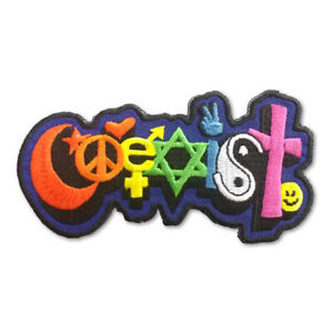P230 Happy Coexist Rainbow Graffiti Style Symbol Lettering Embroidered Patch