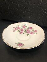 Vintage Regency English Bone China Pink Roses  Saucer Gold Edging