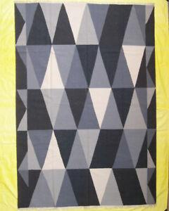 Black Color Afghan Dhurrie Carpet Diamond Geometric Rugs Contemporary 7x10 ft