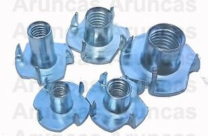 Tee Nuts 4mm,5mm,6mm,8mm,10mm, 4 Prong, Threaded Insert For Wood M4,M5,M6,M8,M10
