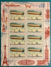 Russia (USSR)1991 MNHOG  m/sheet Zeppelin over Moscow (London,Paris) Aviation