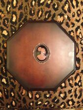 Gorgeous African American Cameo Accent Octagon Wood Trinket Jewelry Box!