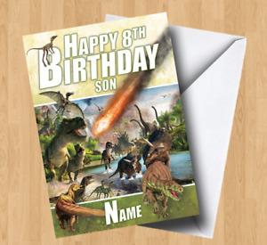 Personalised Dinosaur Asteroid (T-Rex/Son/Grandson/Daughter) Birthday Card