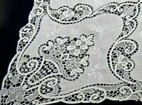 "Point de Venise Lace Linen Tablecloth Banquet 108""x94"" Elegant Hand Work Vintage"