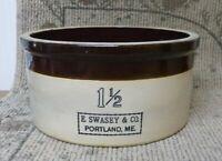 Antique E. Swasey & Co. 6 Quart Stoneware Butter Crock