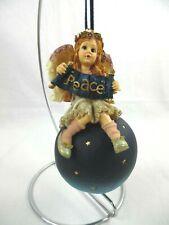 "Boyds Bears~Wee Folkstones Ornament~""Olivia.Wis hing You Peace""~3E/9202~Retir ed"