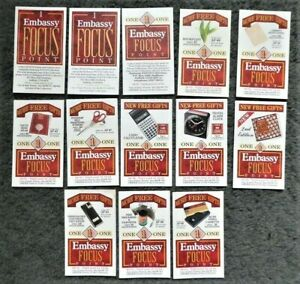 Lot of 13 Embassy Focus Points Cigarette Cards Inserts - All Different