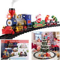 Electric Christmas Train Tracks Set Kids Toy w/ Lights Sounds Smoke Around Tree