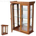 Glass Wood Hanging Display Case Curio Mirror Collectibles Cabinet Den Livingroom