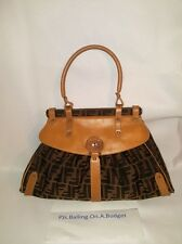 Fendi Beige Brown Zucca Canvas Small  Bag Dust Bag Included