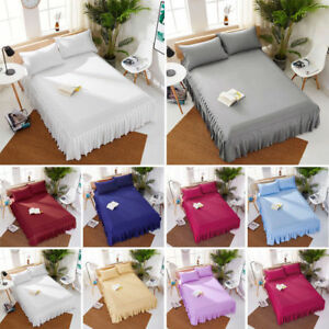 "European Pleated Bed Spread/Bed Skirt 20"" drop 800 TC 100% Cotton ALL SIZE&COLOR"