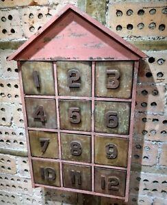 House Shape Wall Cabinet Painted Vintage Look Flight of 12 Zinc Drawers Hooks