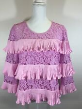 NEW J CREW LACE RUFFLE BLOUSE TOP NEON ORCHID PINK SIZE 6 SPRING 2017