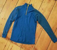 JANUS Merino Wool Women's Base Layer Top Shirt blue yellow zip Size 150 xs s