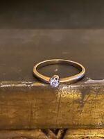Antique 14K Yellow Gold Diamond Ring Size 4 1/4