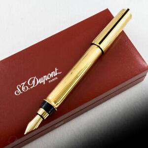 S.T. DUPONT MONTPARNASSE FOUNTAIN PEN GOLD PLATED GUILLOCHE 18K MEDIUM NIB