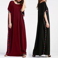 ZANZEA Women Pom Pom Trim Batwing Short Sleeve Baggy Kaftan Long Maxi Dress Plus