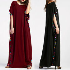 ZANZEA Women Pom Pom Trim Batwing Short Sleeve Baggy Kaftan Long Maxi Dress Plus