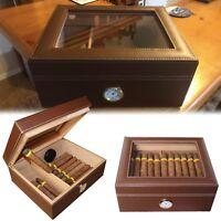 Cigar Holder Humidor Leather Handmade Storage Wooden Desktop Box
