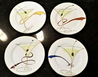 Set of 4 Pier 1 Martini Glasses Lunch Appetizer Dessert Plates Outlined in Gold