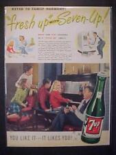 VINTAGE OLD~7-UP SODA POP DRINK BOTTLE PHOTO ART PRINT AD~ ORIGINAL ANTIQUE 1947