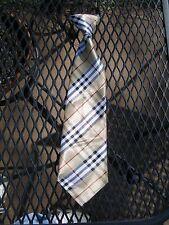 """Boy's 11"""" dress tie.  British Golden Plaid.  Ships USA.   Receive 3-5 days"""