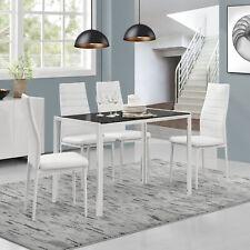 [en.casa]® Esstisch +4 Stühle weiß/schwarz Küchentisch Esszimmertisch Glas Tisch