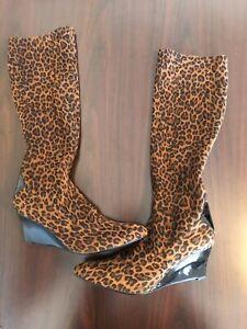 stuart weitzman boots Animal Print, Patent Leather Wedge. Size 11