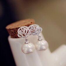 Vintage Women Fashion Luxury Eardrop Rose Flower Pearl Ear Stud Earrings Jewelry