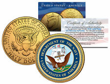 United States Navy * Emblem * 24K Gold Plated Jfk Half Dollar U.S. Coin Military 0000076C