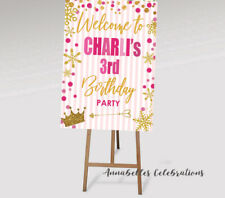 Personalised Birthday Welcome Print First 1st 2nd 3rd Party Pink Gold Princess