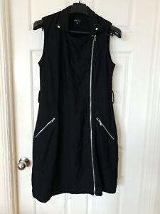 CITY CHIC Black Zip Up Vest Collar Dress Pinafore Plus Size XS C30