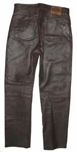 """"""" JOHN F. GEE """" D'Homme Jean en Cuir/ Pantalon Cuir Braun Gr. 44 Env. W29 """" /"""