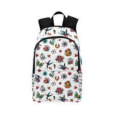 Retro Tattoo White Print Backpack School Bag Rucksack College Work Skulls Hearts