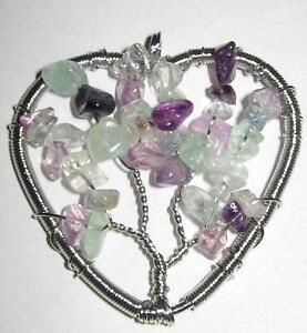 FREE POST-LOVELY NEW*FLOURITE*&SILVER HEART TREE OF LIFE PENDANT /REIKI HEAL/A+
