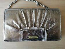 Coach metalic Leather handbag With Chain