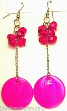 "NEW Pink Bead and Shell Silver Tone Pierced 3"" Dangle Earrings"