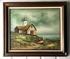 Original Vintage Signed Seascape Oil Painting Bob Ross Style Lighthouse Ocean