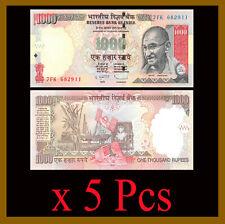 India 1000 (1,000) Rupees x 5 Pcs, 2011 P-100 Gandhi Unc
