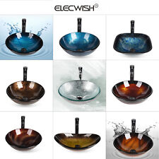 Bathroom Vanity Vessel Sink Bowl Tempered Glass Counter Top Faucet Pop-up Drain