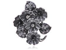 Dark Somber Black Dark Tone Metal Crystal Rhinestone Flower Cluster Charm Rings