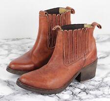 ALL SAINTS BONNY Tan Leather Western Fringe Cuban Ankle Boots Size EU 37, UK 4