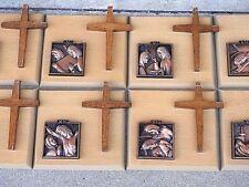 Catholic stations of the Cross Bronze & wood Church altar Passion of Christ icon